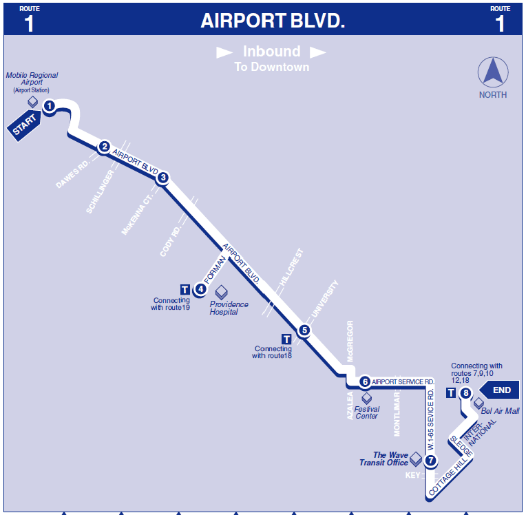 Airport Blvd Inbound map