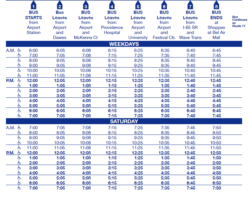 Airport Blvd Inbound schedule