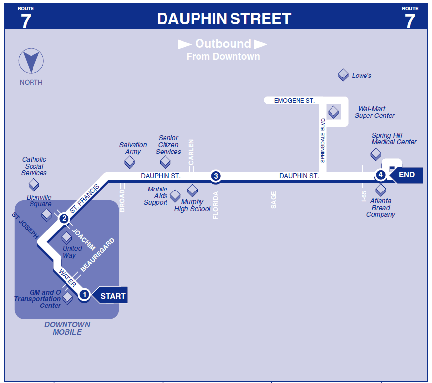 Dauphin Street Outbound Map