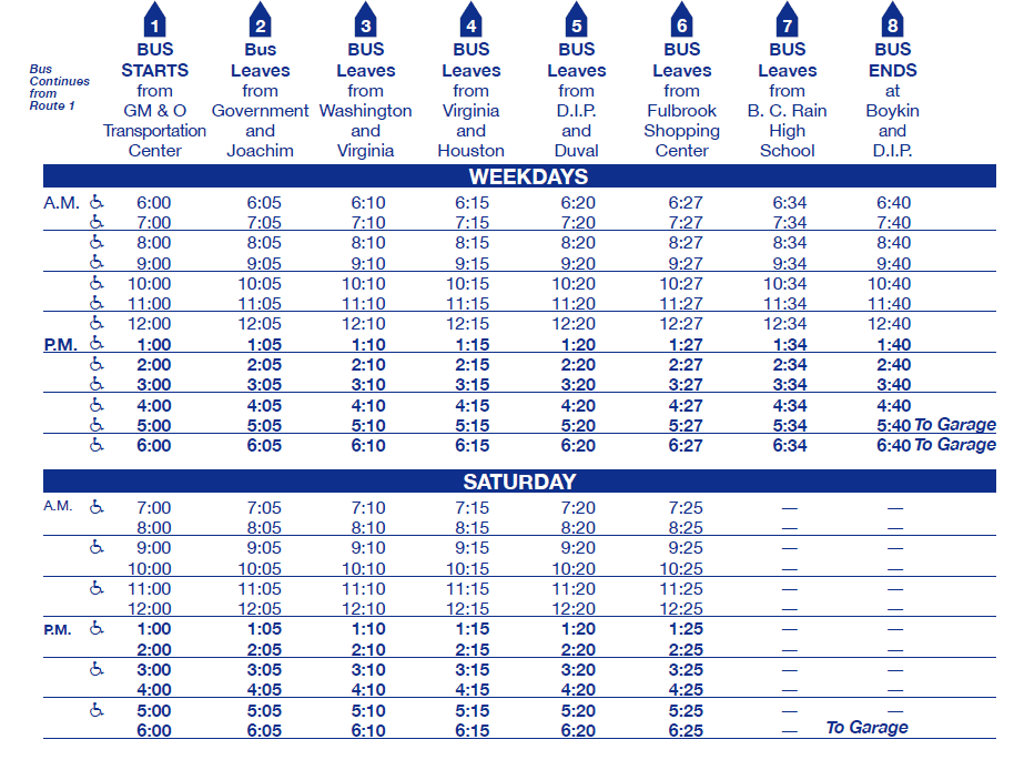 Dauphin Street Outbound Schedule