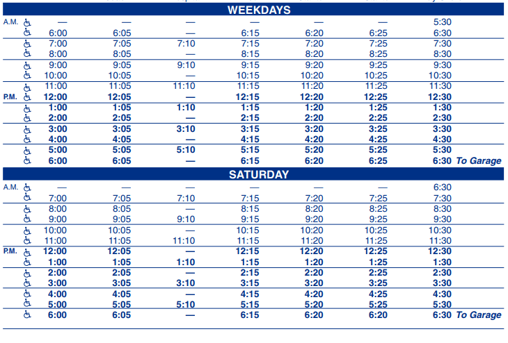Toulminville Outbound Schedule