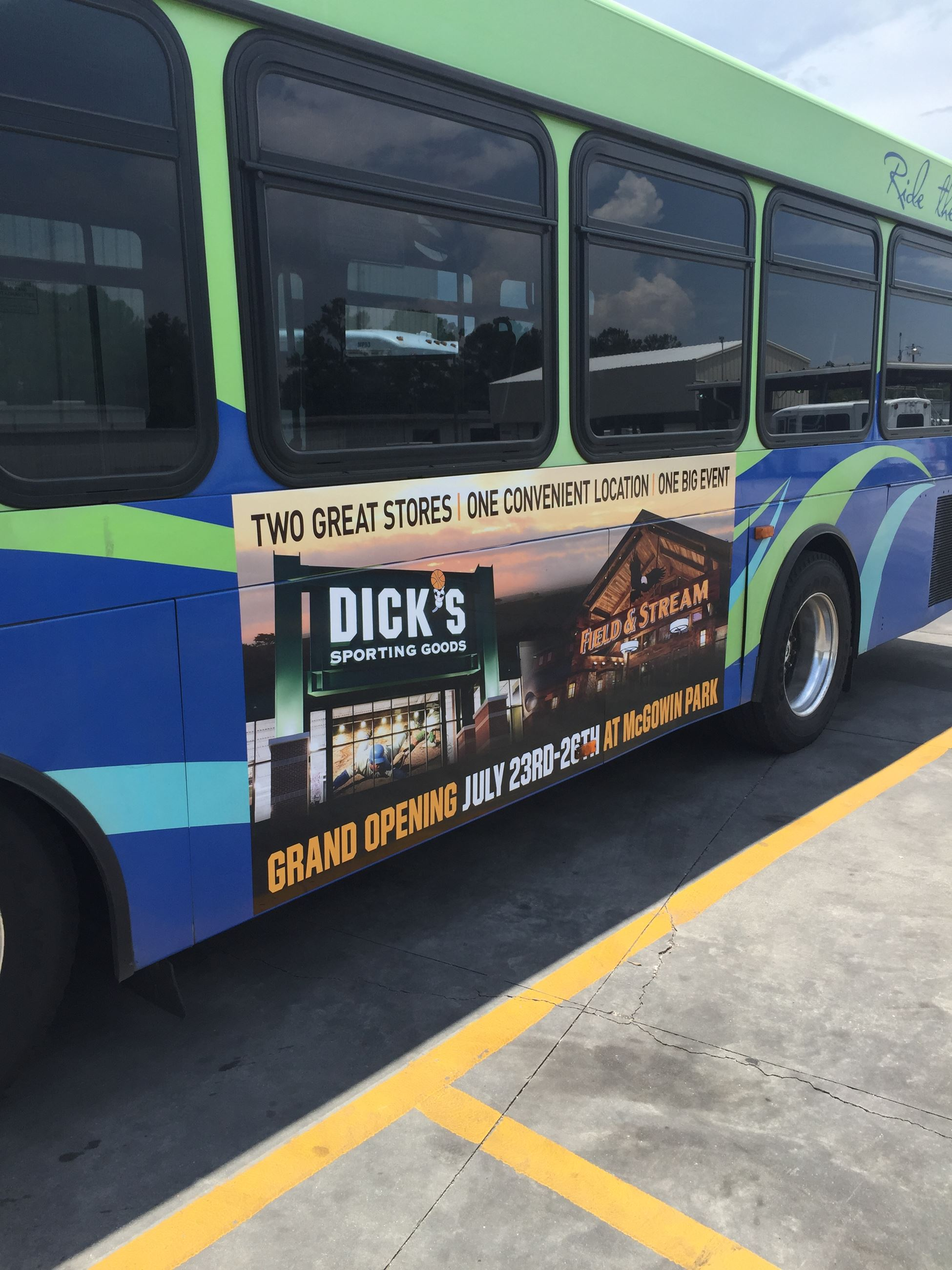 Dick's Sporting Goods Advertisement on Bus
